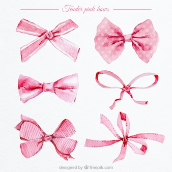 Watercolor pink bows