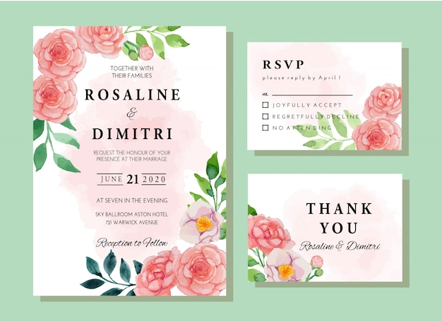 Watercolor pink camellia flowers vintage invitation card template set