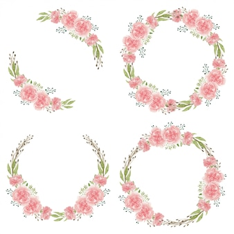 Watercolor pink carnation flower circle frame collection