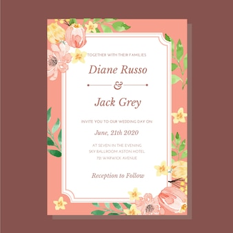 Watercolor pink coral romantic vintage classic frame wedding invitation template
