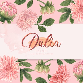 Watercolor pink dalia flowers card