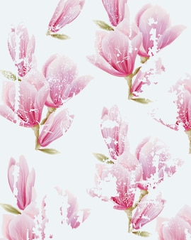 Watercolor pink fairy lily flower pattern. grunge design