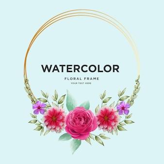 金色の円と水彩ピンクの花のアートの強さ無料ベクトル