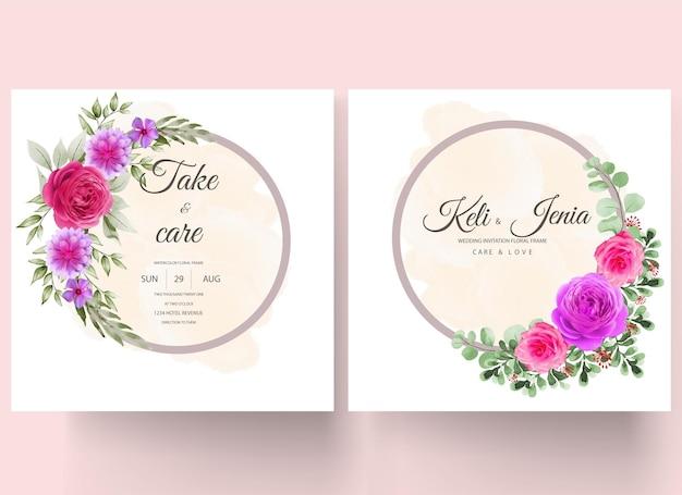 金色の円と水彩ピンクの花のアートの強さ無料ベクトルb