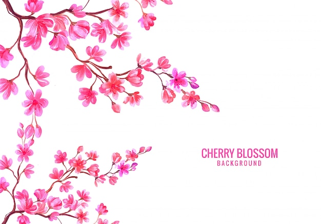 Watercolor pink floral cherry blossom background