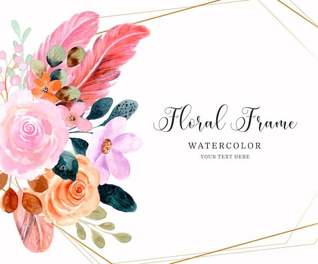 水彩ピンクの花のフレームの背景