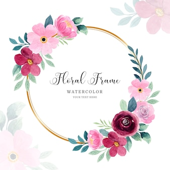 Sfondo cornice floreale rosa acquerello