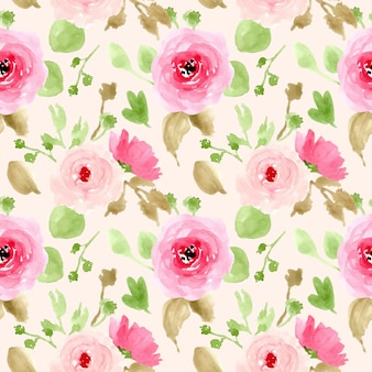 Watercolor pink floral spring seamless pattern