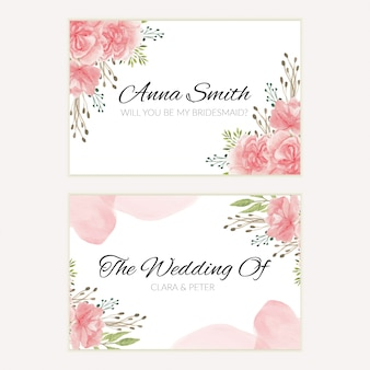 Watercolor pink floral wedding bridesmaid card template