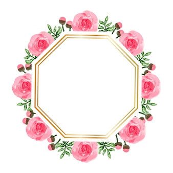 Watercolor pink flower frame background