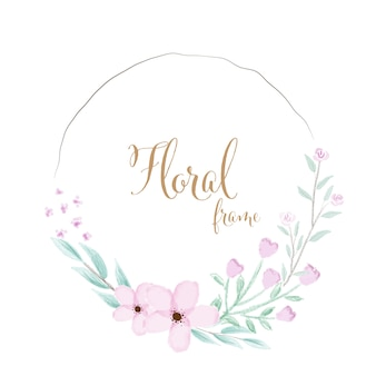 Watercolor pink flower wreath frame with golden text