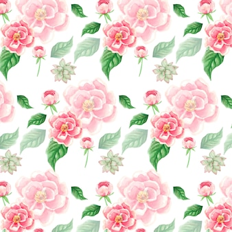 Watercolor pink flowers and leaves background pattern