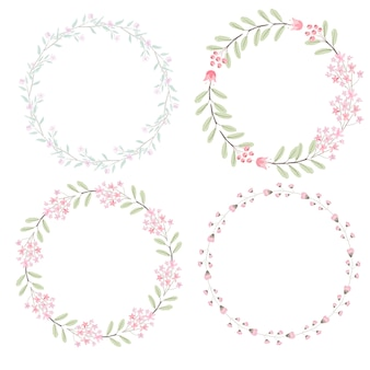 Watercolor pink flowers wreath for wedding or valentines day collection