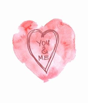 수채화 핑크 손으로 그린 종이 질감 텍스트 디자인에 대 한 배경에 고립 된 심장