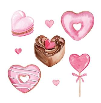 白い背景で隔離の水彩ピンクのハート型の甘いデザートセット。バレンタインデーセット。手描きのケーキ、カップケーキ、ドーナツ、ロリポップ、マカロン