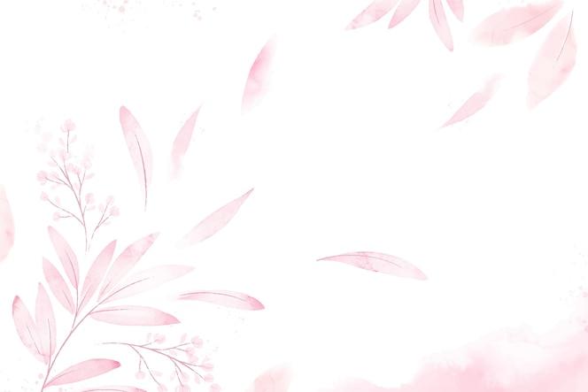 Sfondo di foglie rosa acquerello