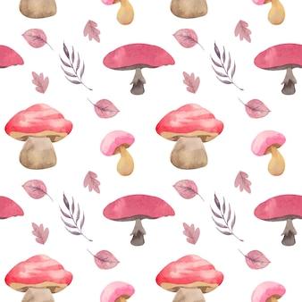 水彩ピンクのキノコと葉のシームレスなパターン
