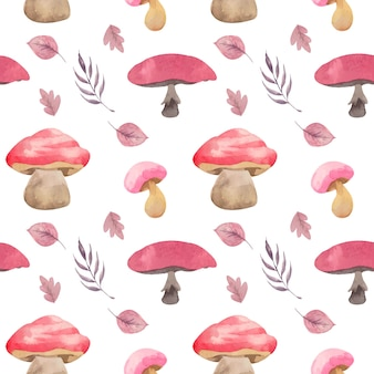 Watercolor pink mushrooms and leaves seamless pattern