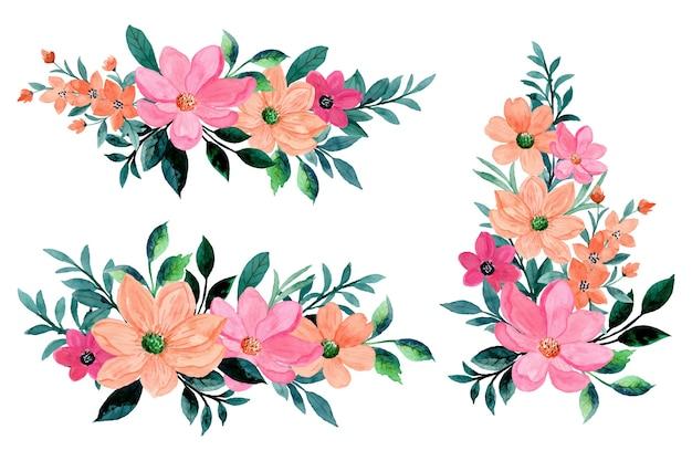 수채화 핑크 오렌지 꽃 꽃다발 컬렉션
