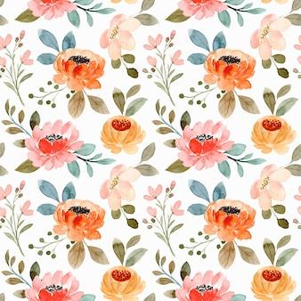 水彩ピンクオレンジの花のシームレスなパターン