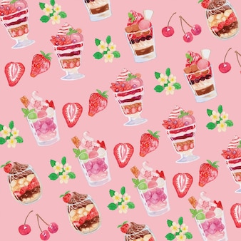 Watercolor pink parfait seamless pattern