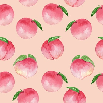 Watercolor pink peach vintage seamless pattern