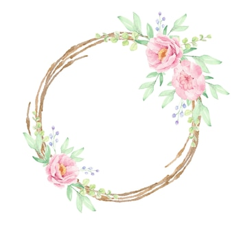 Watercolor pink peony flower bouquet on brown dry twig wreath frame