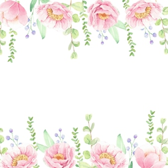 Watercolor pink peony flower bouquet frame background