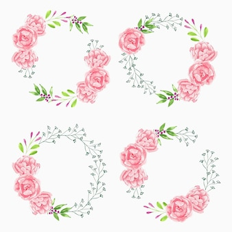 Watercolor pink peony flower wreath collection