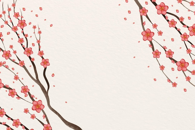 Watercolor pink plum blossom background copy space