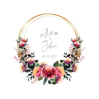 Watercolor pink purple floral wreath with golden frame