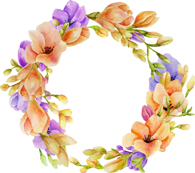 Watercolor pink and purple freesia flowers wreath
