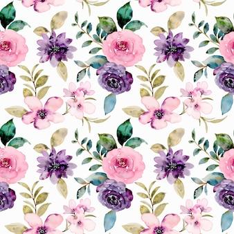 수채화 핑크 보라색 장미 꽃 원활한 패턴
