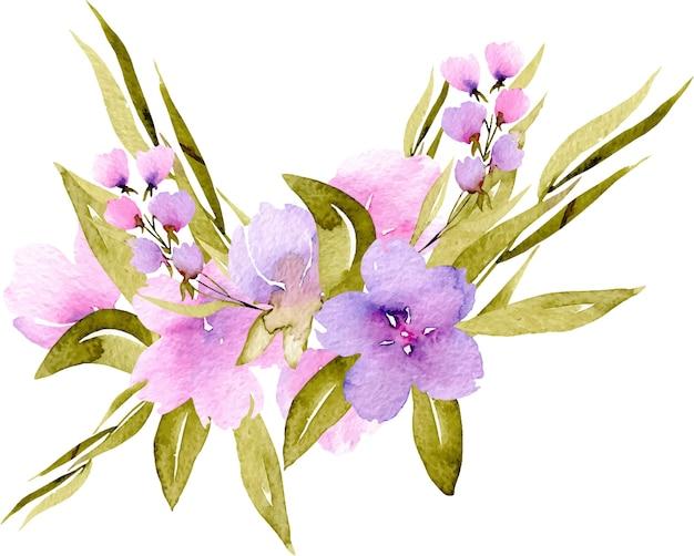 수채화 핑크, 보라색 야생화와 녹색 가지 꽃다발, 손으로 그린에 고립 된