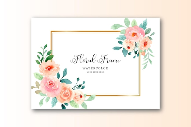 Watercolor pink rose background with golden frame