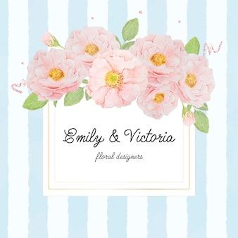 Watercolor pink rose bouquet on gold square frame on blue strip background for banner or logo