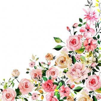 Watercolor pink rose floral background