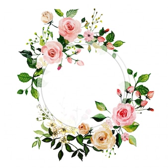 Watercolor pink rose floral frame