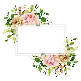 水彩ピンクローズ花のフレーム