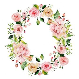 Watercolor pink rose floral frame