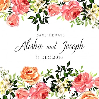 Watercolor pink rose floral wedding invitation card