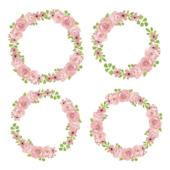 Watercolor pink rose floral wreath collection