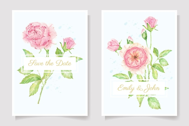 Watercolor pink rose flower branch bouquet  wedding invitation card template collection