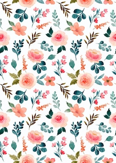 Watercolor pink rose flower seamless pattern
