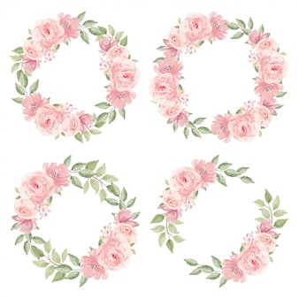 수채화 핑크 장미 꽃 화환 컬렉션