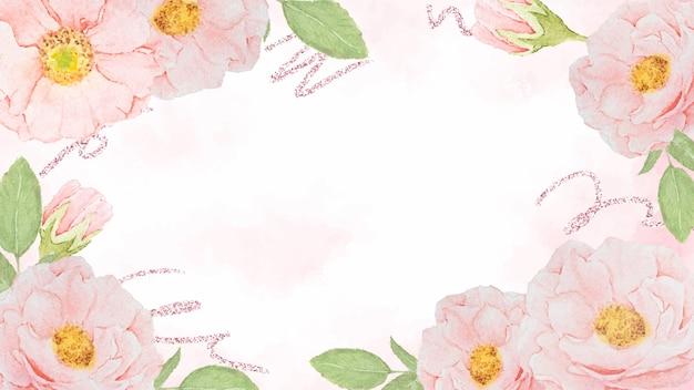 スプラッシュの背景にローズゴールドのキラキラと水彩ピンクのバラのフレーム
