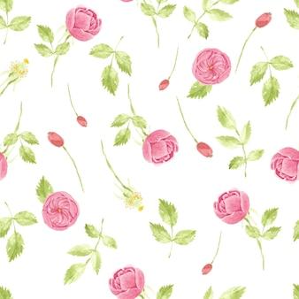 紙や布の水彩ピンクのバラのシームレスパターン