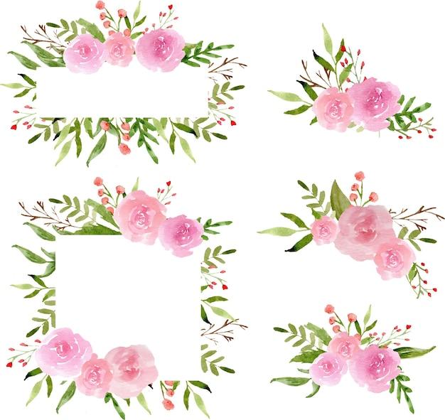 水彩のピンクのバラの花輪と配置