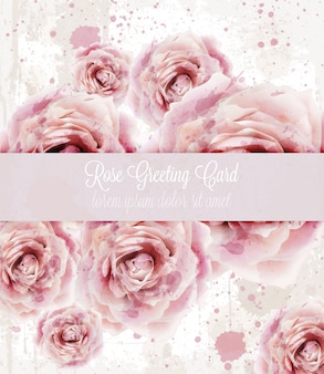 Watercolor pink roses background