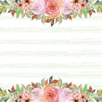 Watercolor pink roses frame with copy space